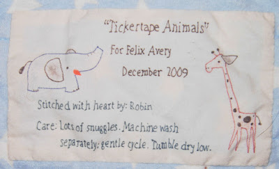 Tickertape Animals, label