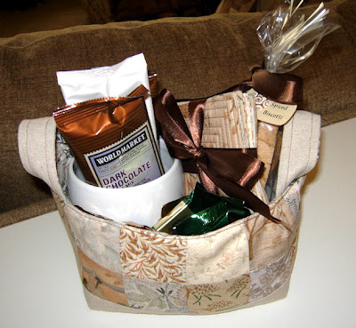 fabric basket filled with goodies