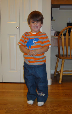 boy models airplane pants