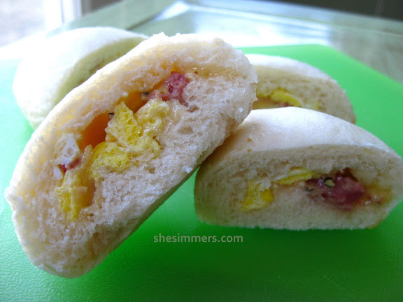 Breakfast Steamed Buns: Chinese Baos with Ham and Cheese - SheSimmers