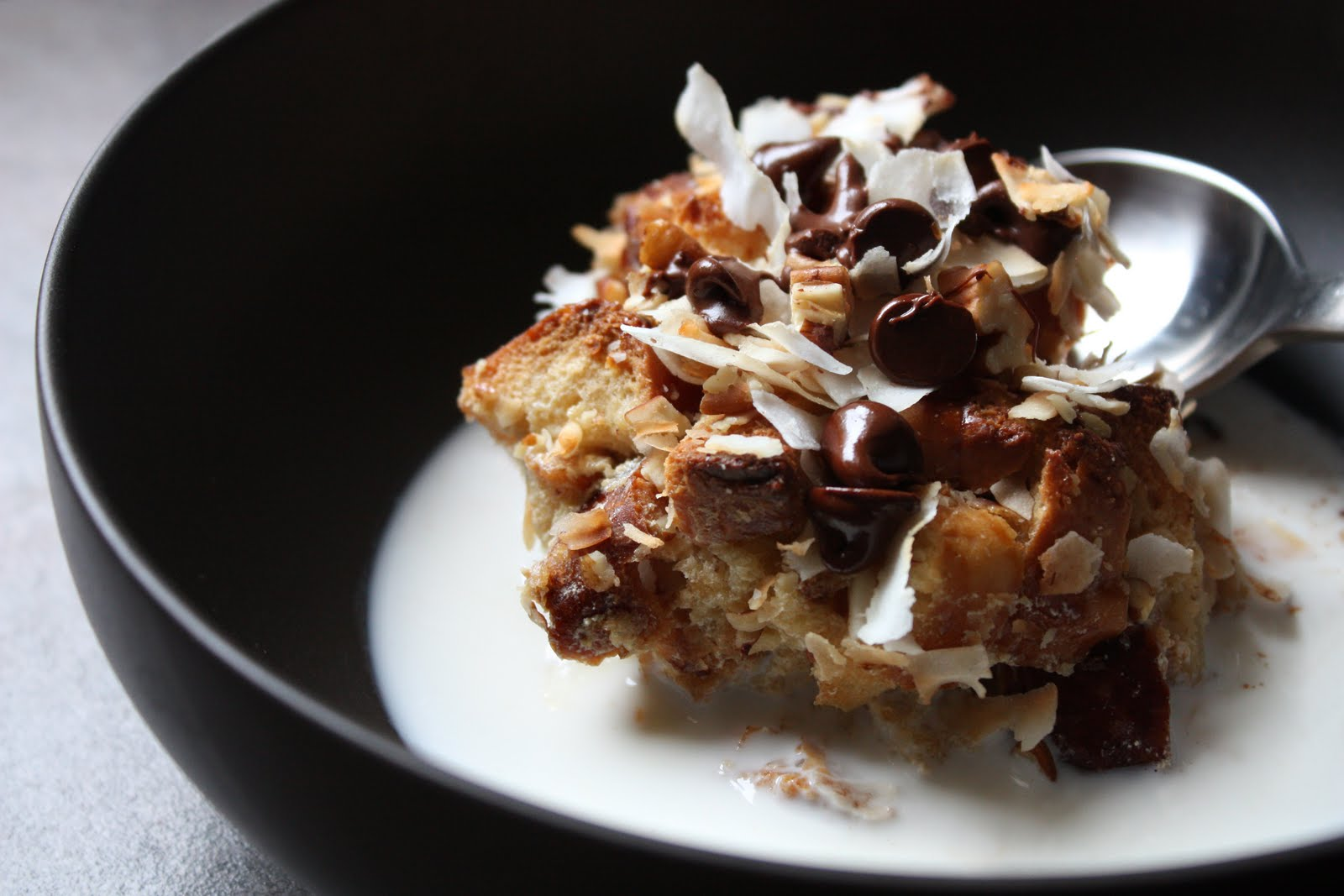 Coconut-Chocolate Chip-Pecan Bread Pudding - SheSimmers