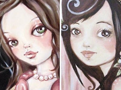 Big eyed girls painted by Rudy Fig