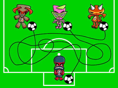 Can you work out which mascot scored the goal?