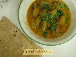 baby onion curry, kanda batata bhaji, baby potato recipe, baby onion recipe