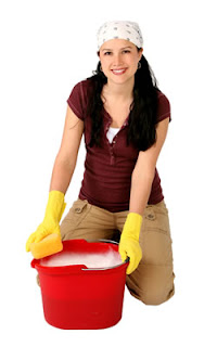 Woman cleaning house and children health, friendly bacteria