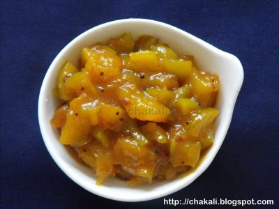 methamba, mango relish, indian mango relish, instant pickle