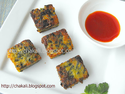 palak kobi vadi, oil free snacks, healthy snack