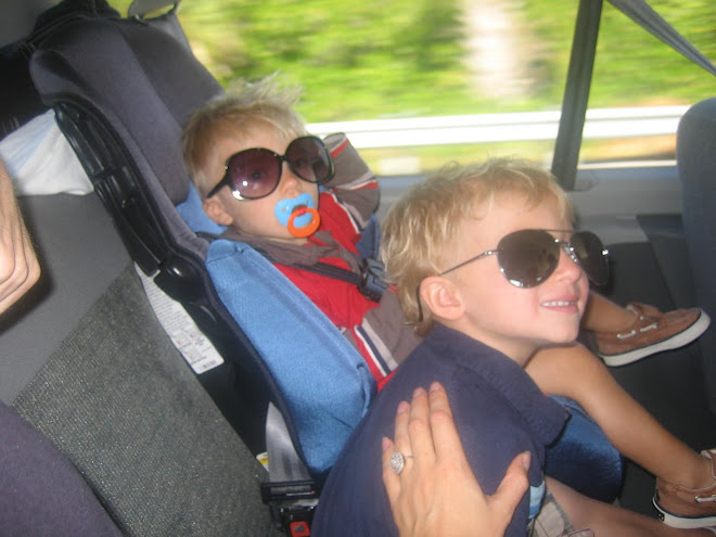 Kolton and Carter in the car going to see the alligators