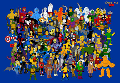 Springfield Simpson Poster of Marvel, DC, He-Man, Watchmen and many