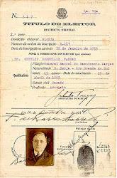 Título de Eleitor de Getúlio Vargas.