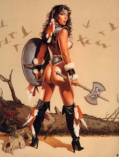legs bare midrifs axe hotter pirate chick viking chick  Viking Chick