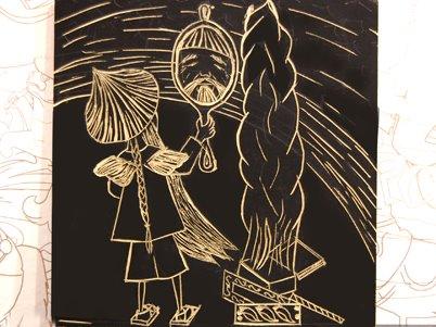 """""""Visión sobre el espejo"""", xilografía de Magdalena Sotta."""