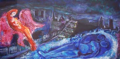 Reporducción de Chagall, acrílico sobre tela por Denise Tixier