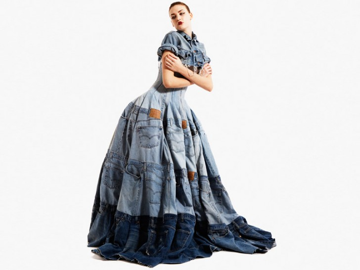 Waste not do want 7 designer looks from recycled denim jeans ecouterre recycled denim - How to reuse magazines seven inspired ideas ...