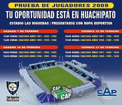 Prueba de JUgadores 2009: Tú oportunidad está en Huachipato, en el estadio Las Higueras presentarse con ropa deportiva
