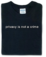 Black t-shirt that reads, privacy is not a crime