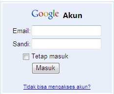 form login google account