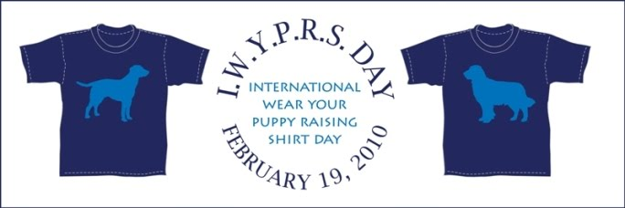 banner with logo that says IWYPRS DAY, International Wear Your Puppy Raising Shirt Day, with two shirts on the sides, one with lab silhouette, other with golden retriever silhouette