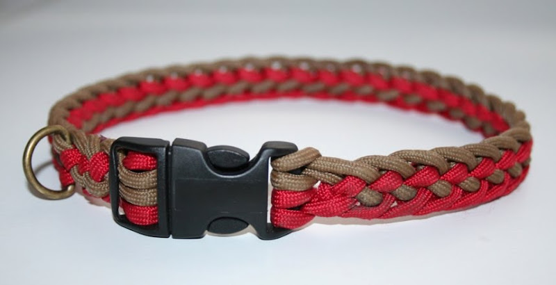 woven or knotted dog collar in red and tan