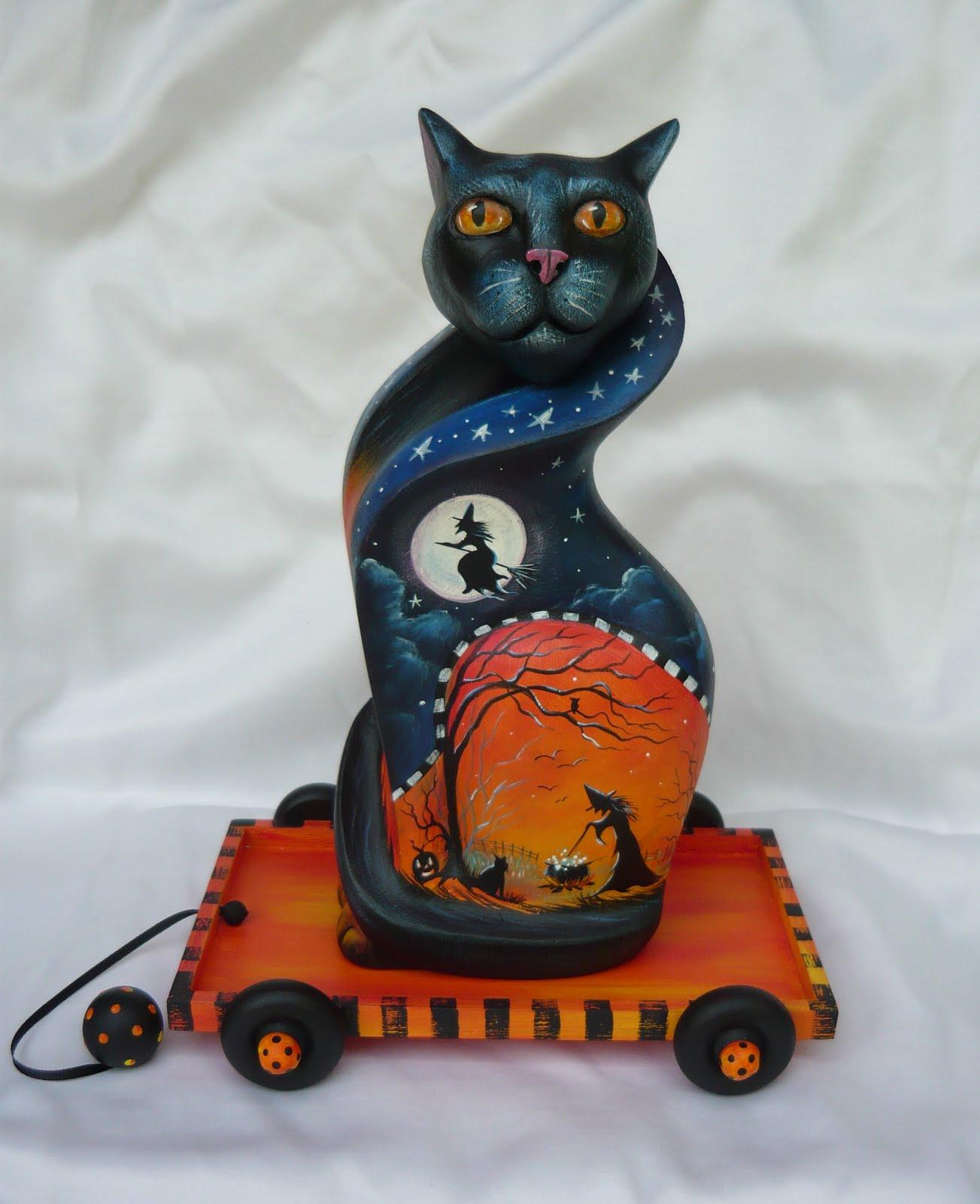 Cat Pulling Wagon : Magic brush studio halloween carved cat in pull cart on