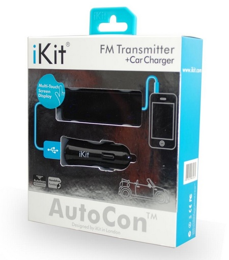 iKit AutoCon FM Transmitter with Touchscreen Control package AutoCon FM Transmitter Hands Free