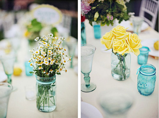 Another wonderful idea spotted at Intimate Weddings are mason jars arranged