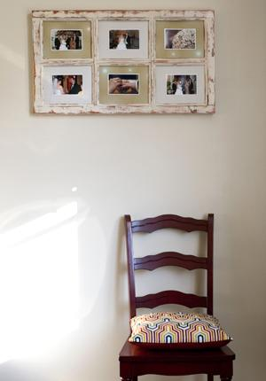 another cheap and chic look, making use of an old weathered window frame
