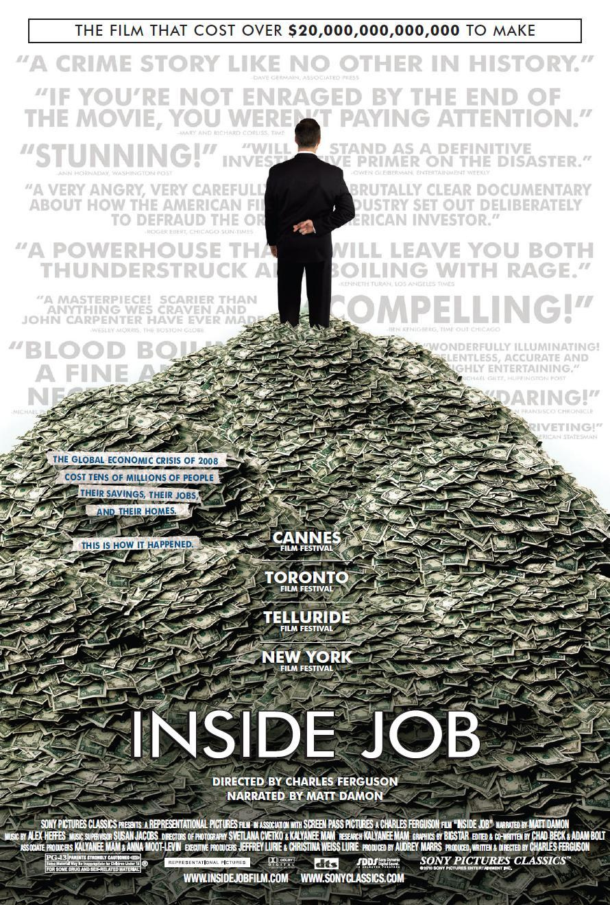 summary the inside job Inside job, the critically acclaimed movie by academy award nominated filmmaker, charles ferguson, is the definitive film about the economic crisis of 2008 and the.