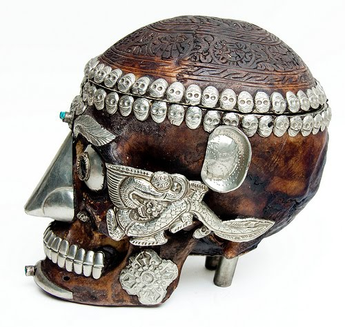 Tibetan Decorated Skull Tibetan Ritual Human Skull