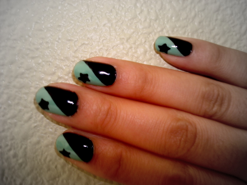 Crystals Nail Designs Mint Green Black With Stars