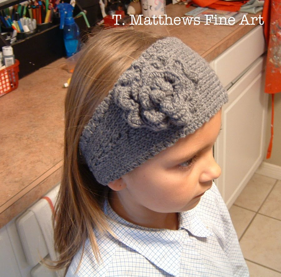 Knitting Pattern For A Headband With Flower : T. Matthews Fine Art: Free Knitting Pattern - Headband Ear Warmer