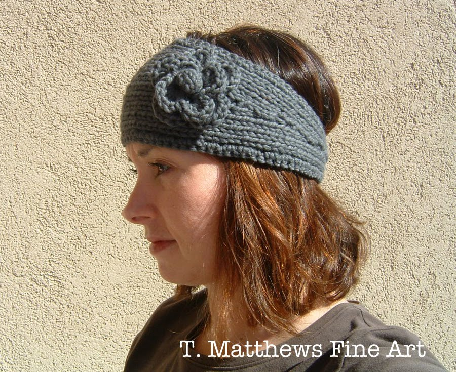 Knitting Patterns For Ear Warmers With Flower : T. Matthews Fine Art: Free Knitting Pattern - Headband Ear ...
