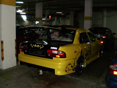 Wira Sedan with drift style GT spoiler