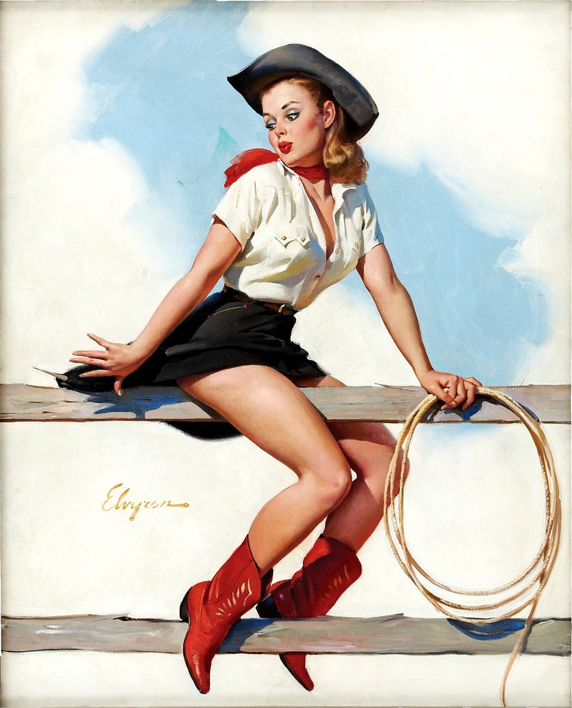 cowboy by gil elvgren pin up and cartoon girls art. Black Bedroom Furniture Sets. Home Design Ideas