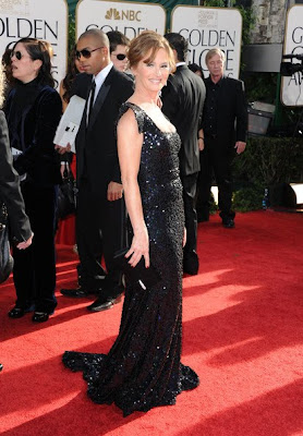 Melissa Leo Lovely In Glittering Black Marc Bouwer Dress