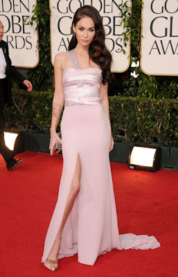 Megan Fox Lovely In A Pale Pink Armani With Crystals