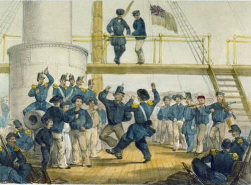English Sailors & French Soldiers. A Dance on Board HMS Vulture Aug 7 1854 (Caricature)