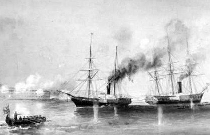 Captain W. H. Hall, in HMS Hecla, Towing the Penelope at Bomarsund in Baltic War