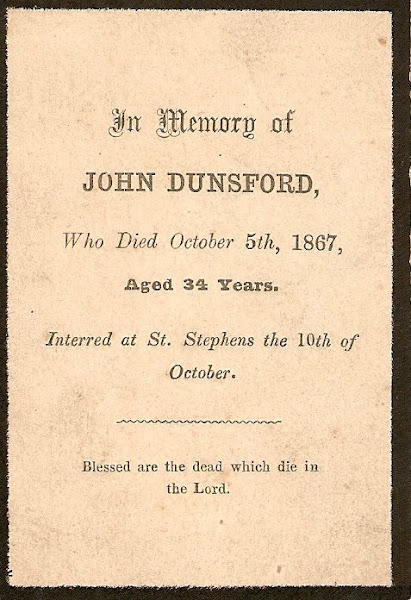 John Dunsford Jnr's Memorial Card