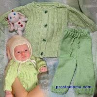 Предлагаю вам связать спицами костюм для новорожденного (или для будущего малыша). Костюм состоит из кофточки и штанишек