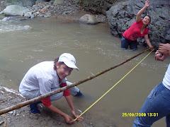 Medición de ancho del río