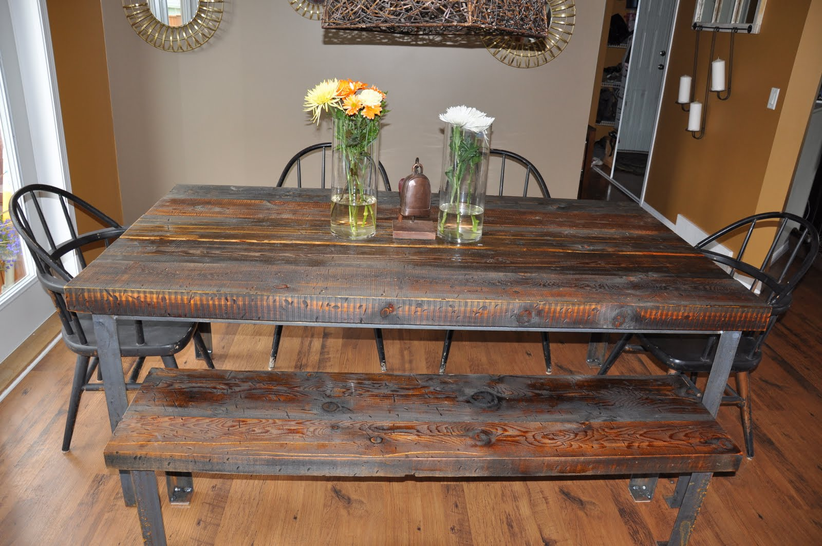 WESTSIDE CURB APPEAL Inc CUSTOM BUILT WEATHER WOOD AND METAL TABLE