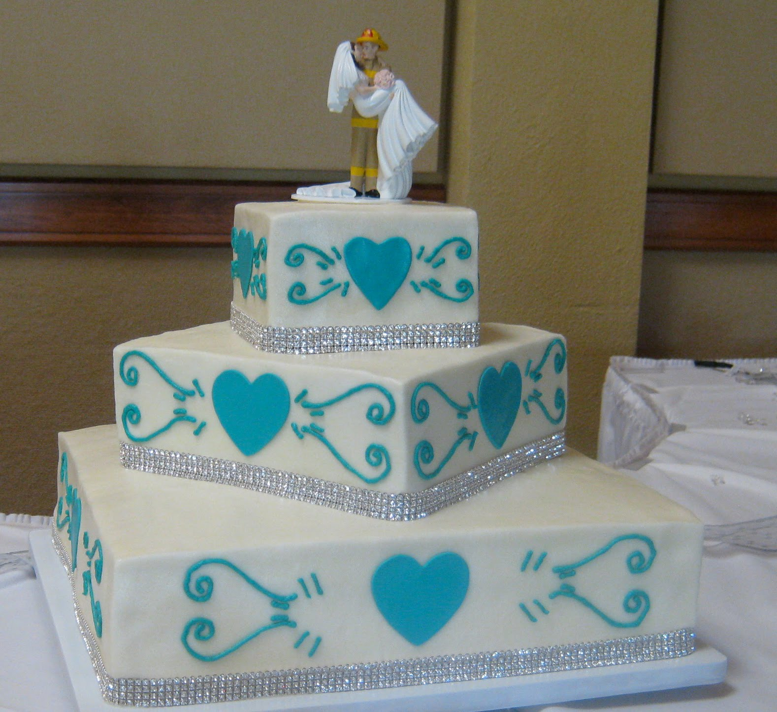 Sweet T s Cake Design Teal Hearts & Sparkling Bling