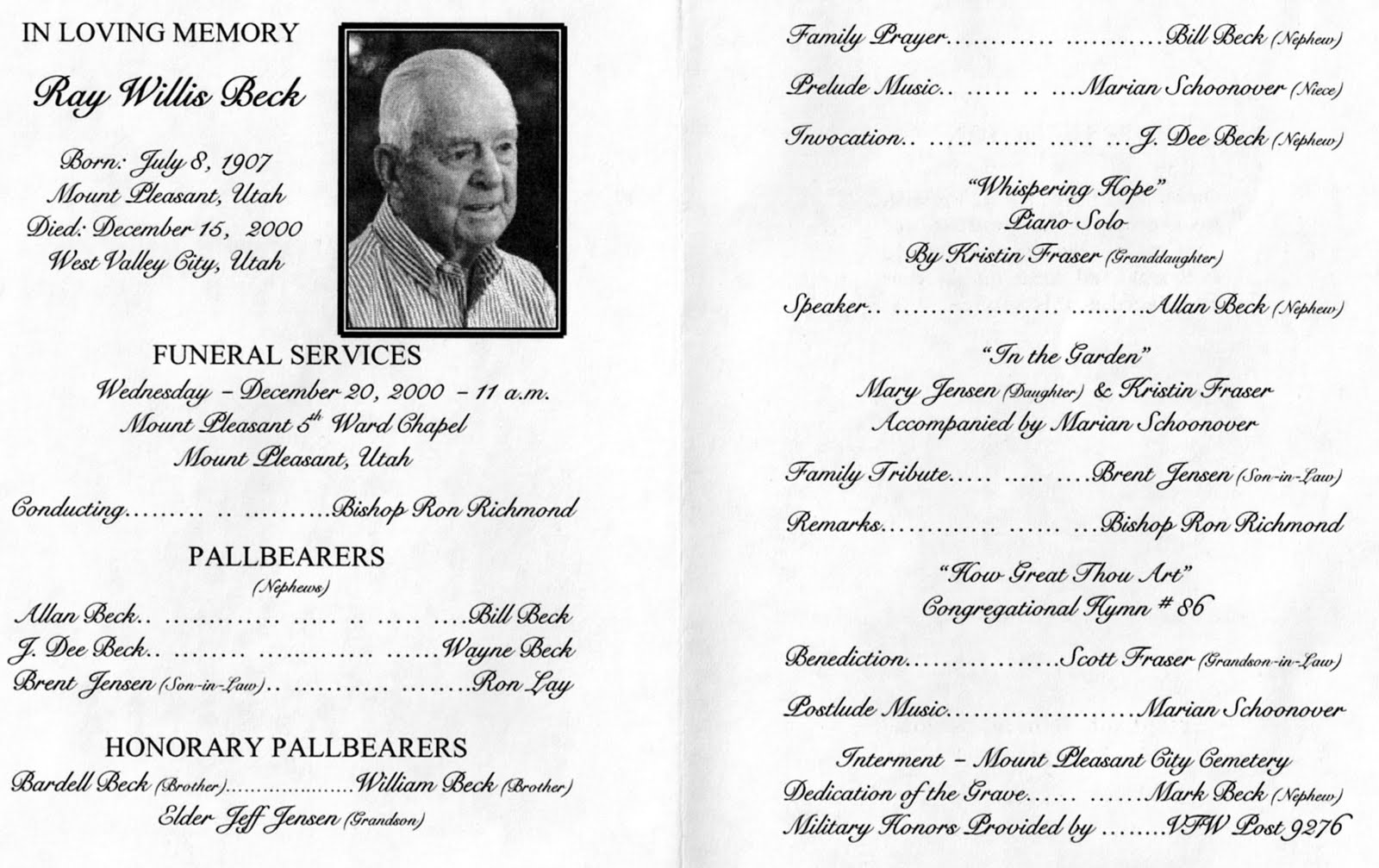 lds funeral program template