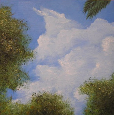 trees and sky painting