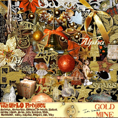 "Free digital scrapbook kit ""In Xmas Gold Mine"" from WaterLo Project"