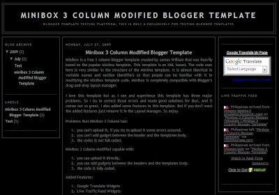 Minibox 3 Column Modified Blogger Template