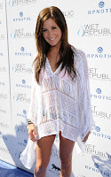 Ashley Tisdale sheer white small dress