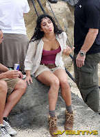 Vanessa Hudgens little shorts and red top