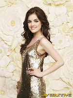 Lucy Hale in her little gold dress